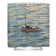 Fishing Boat Jean Shower Curtain