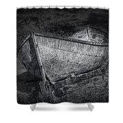 Fishing Boat On Shore In Black And White Shower Curtain