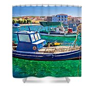 Fishing Boat On Turquoise Sea Shower Curtain