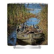 Opening Day Hunting Boat Shower Curtain