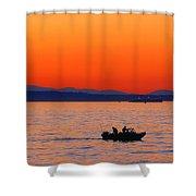 Fishermen At Sunset Puget Sound Washington Shower Curtain