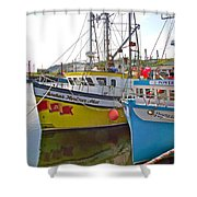Fishing Boat Reflection In Branch-newfoundland-canada Shower Curtain