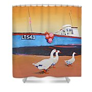 Fishing Boat Walberswick With Geese Shower Curtain