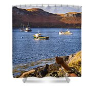 Fishing Boats At Anchor In A Quiet Bay On The Isle Of Skye In Sc Shower Curtain