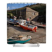 Fishing Boats At Mullion Cove Shower Curtain