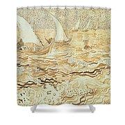 Fishing Boats At Saintes Maries De La Mer Shower Curtain by Vincent van Gogh