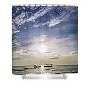 fishing boats at sunset in koh rong Cambodia Shower Curtain