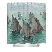 Fishing Boats Calm Sea Shower Curtain