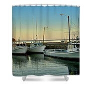 Fishing Boats In A Harbor Towards Evening On Prince Edward Island Shower Curtain