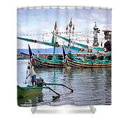 Fishing Boats In Bali Shower Curtain