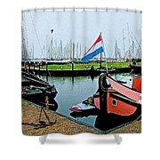 Fishing Boats In Enkhuizen-netherlands Shower Curtain