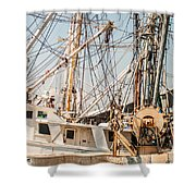 Fishing Boats In Harbour Shower Curtain