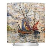 Fishing Boats In La Rochelle Shower Curtain by Paul Signac