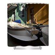 Fishing Boats In Manarola - Cinque Terre Shower Curtain
