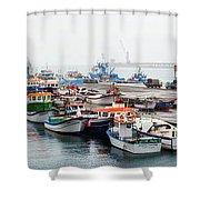 Fishing Boats Moored At A Harbor, Ponta Shower Curtain