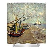 Fishing Boats On The Beach At Les Sainte-maries-de-la-mer Shower Curtain