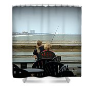 Fishing Buddies Shower Curtain by Kathy Barney