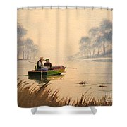 Fishing By Sunrise Shower Curtain