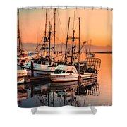 Fishing Fleet Sunset Boat Reflection At Fishermans Wharf Morro Bay California Shower Curtain