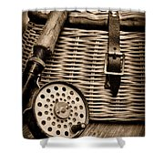 Fishing - Fly Fishing - Black And White Shower Curtain