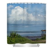 Fishing From The Pier Shower Curtain