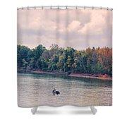 Fishing In Autumn Shower Curtain by Jai Johnson