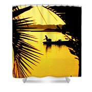 Fishing In Gold Shower Curtain by Karen Wiles