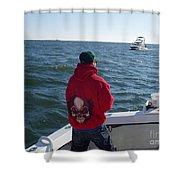 Fishing In Rough Seas Shower Curtain