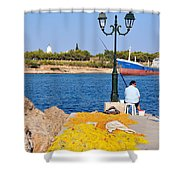 Fishing In Spetses Town Shower Curtain