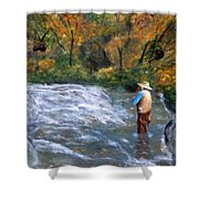 Fishing In The Fall Shower Curtain