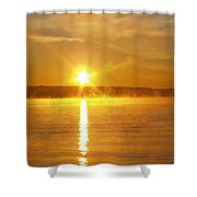 Fishing In The Fog Shower Curtain