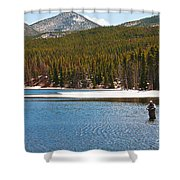 Fishing In Winter Shower Curtain