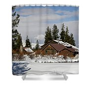 Fishing Lodge In The Winter Shower Curtain