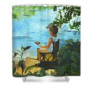 Fishing Off The Dock Shower Curtain