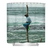 Fishing On A Pole Shower Curtain