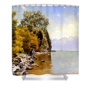 Fishing On Lac Leman Shower Curtain