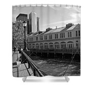 Fishing On The Harbor Shower Curtain