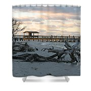 Fishing Pier And Driftwood Shower Curtain