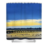Fishing Pier At Sunset Shower Curtain