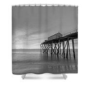 Fishing Pier Sunrise Bw 16x9 Shower Curtain
