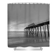 Fishing Pier Sunrise Bw Shower Curtain