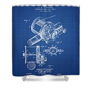 Fishing Reel Patent From 1907 - Blueprint Shower Curtain