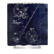 Fishing Reel Patent 1939 Blue Shower Curtain