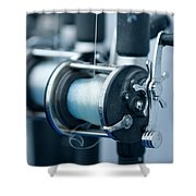 Fishing Reels On A Charter Boat Shower Curtain