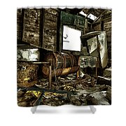Fishing Shack Posterized Shower Curtain