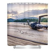 Fishing Tackle On A Wooden Float With Mountain Background In Nc Shower Curtain