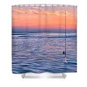 Fishing The Sunset Surf - Horizontal Version Shower Curtain