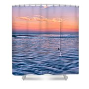 Fishing The Sunset Surf - Vertical Version Shower Curtain