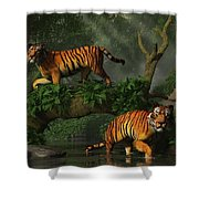 Fishing Tigers Shower Curtain