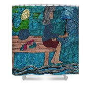 Fishing Under The Evening Sky On A Cool Autumn Night Shower Curtain